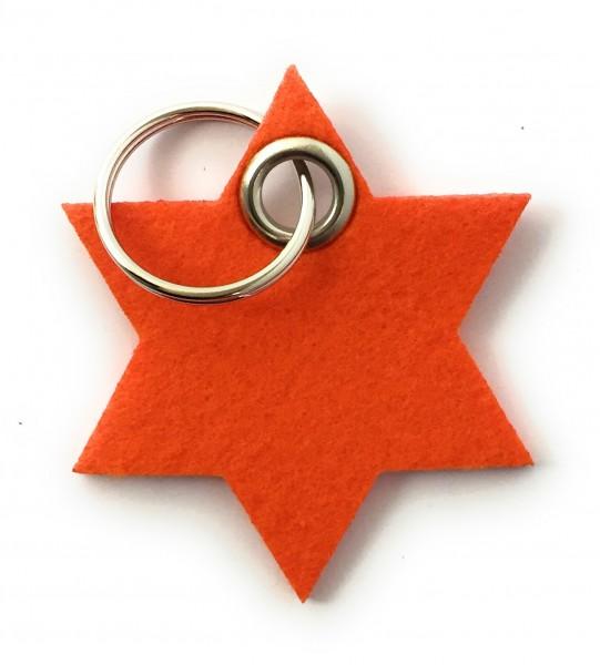 Stern / 6eckig - Filz-Schlüsselanhänger - Farbe: orange - optional mit Gravur / Aufdruck