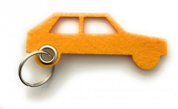 Auto - retro - Filz-Schlüsselanhänger - Farbe: gelb - optional mit Gravur / Aufdruck