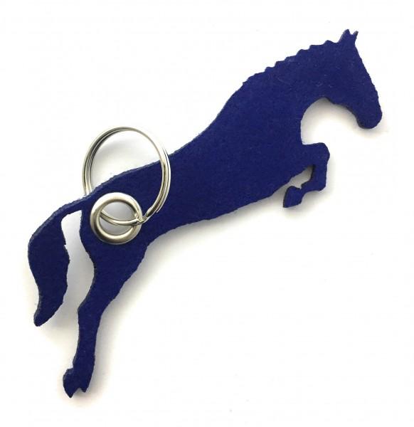 Spring - Pferd - Filz-Schlüsselanhänger - Farbe: royalblau - optional mit Gravur / Aufdruck
