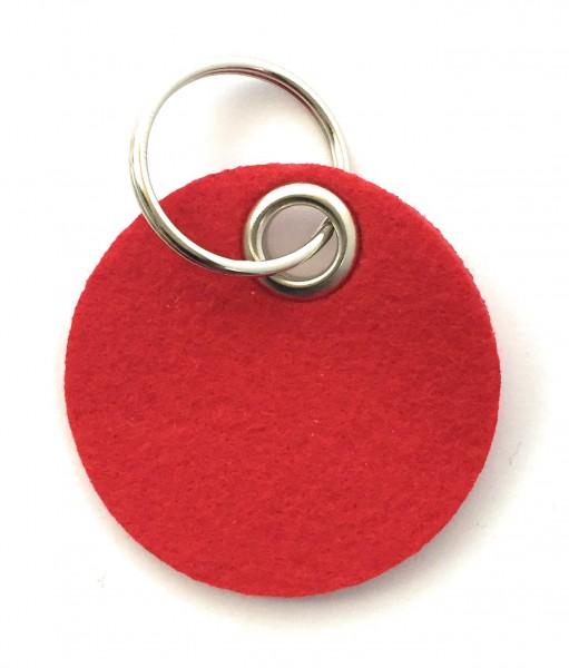Kreis / Scheibe / Rund - Filz-Schlüsselanhänger - Farbe: rot - optional mit Gravur / Aufdruck