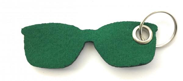 Brille - Filz-Schlüsselanhänger - Farbe: waldgrün - optional mit Gravur / Aufdruck