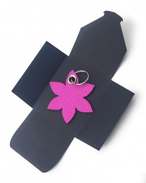 Schlüsselanhänger aus Filz optional mit Namensgravur - Blume spitz / Blüte - pink / magenta als Sch