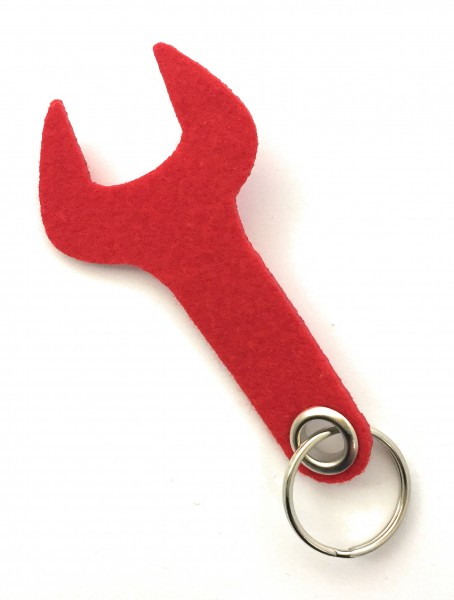 Schraubenschlüssel / Werkzeug - Filz-Schlüsselanhänger - Farbe: rot - optional mit Gravur / Aufdruck