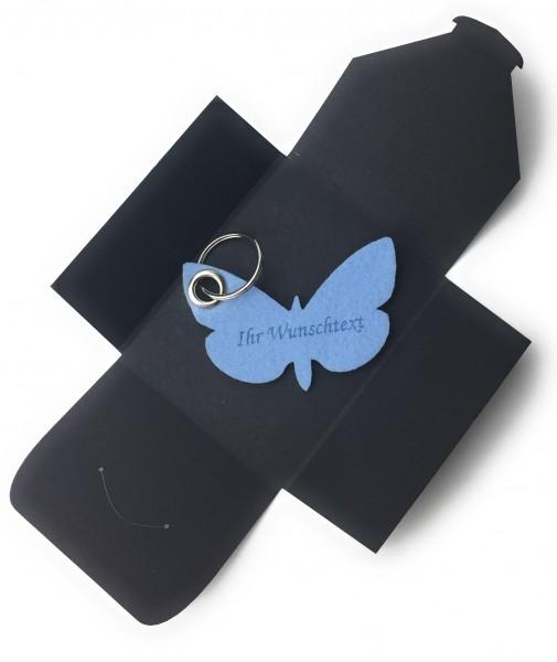 Schlüsselanhänger aus Filz optional mit Namensgravur - Schmetterling / Tier - eisblau als Schlüssel