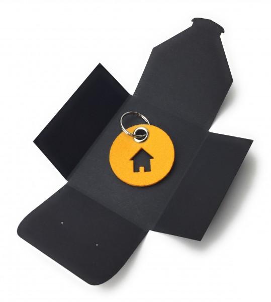 Schlüsselanhänger aus Filz - Kreis / Scheibe / mit Haus - safrangelb als Schlüsselanhänger / Koffera