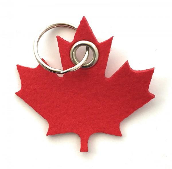 Ahorn-Blatt / Kanada - Filz-Schlüsselanhänger - Farbe: rot - optional mit Gravur / Aufdruck