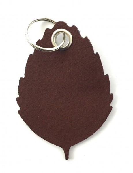 Blatt / Baum / Laub - Filz-Schlüsselanhänger - Farbe: braun - optional mit Gravur / Aufdruck
