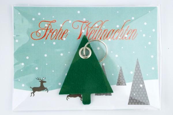 Weihnachtsbaum Bauhaus - Filz Schlüsselanhänger. Tannenbaum mit Schlüsselring und optionaler Werbeka