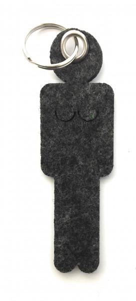 Frau / Hers - Filz-Schlüsselanhänger - Farbe: schwarz meliert - optional mit Gravur / Aufdruck
