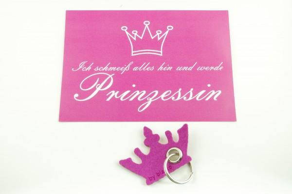 """Prinzessinnen-Set Schlüsselanhänger- Inkl. Postkarte """"Ich schmeiß alles hin und werde Prinzessin"""""""