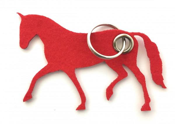Pferd / Dressur / Reiten /laufend - Filz-Schlüsselanhänger - Farbe: rot - optional mit Gravur / Aufd