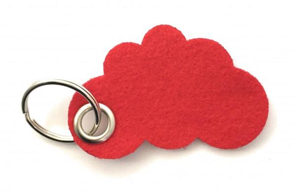 Wolke / Cloud - Filz-Schlüsselanhänger - Farbe: rot - optional mit Gravur / Aufdruck