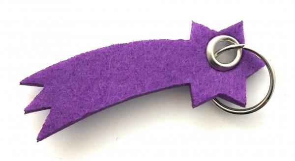 Sternschnuppe - Filz-Schlüsselanhänger - Farbe: lila / flieder - optional mit Gravur / Aufdruck