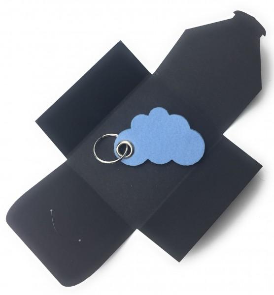 Schlüsselanhänger aus Filz optional mit Namensgravur - Wolke / Cloud - eisblau als Schlüsselanhänger
