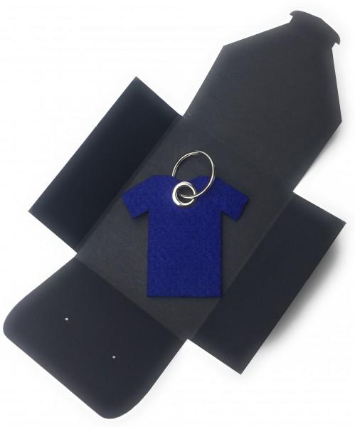 Schlüsselanhänger aus Filz optional mit Namensgravur - T-Shirt / Sport - königsblau als Schlüsselan