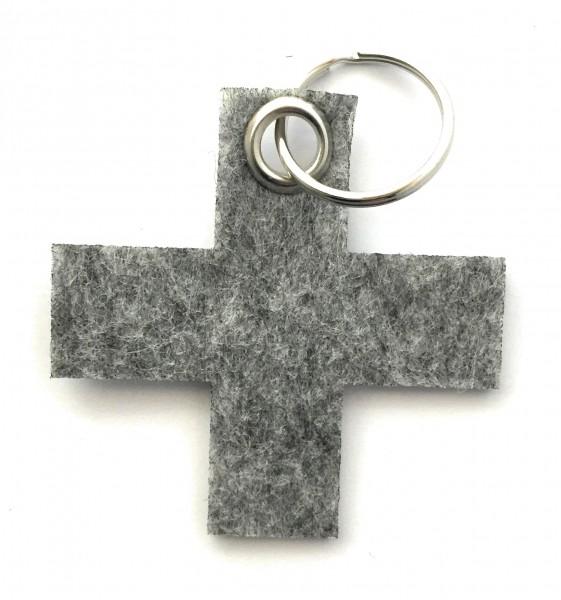 Kreuz, klein / X - Filz-Schlüsselanhänger - Farbe: grau meliert - optional mit Gravur / Aufdruck
