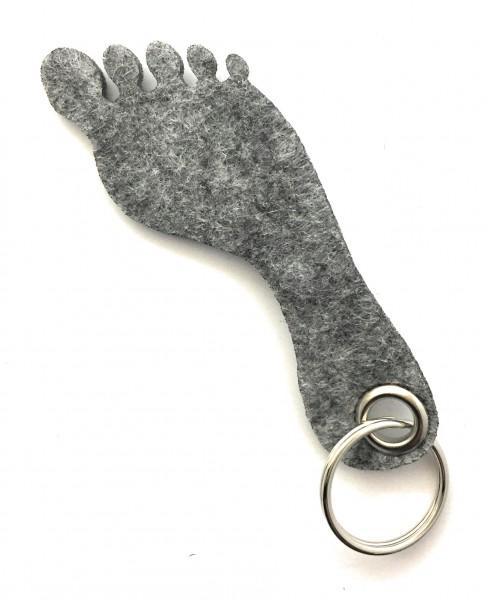 Fuß / Sohle - Filz-Schlüsselanhänger - Farbe: grau meliert - optional mit Gravur / Aufdruck