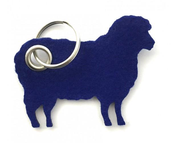 Schaf / Lamm / Tier - Filz-Schlüsselanhänger - Farbe: royalblau - optional mit Gravur / Aufdruck