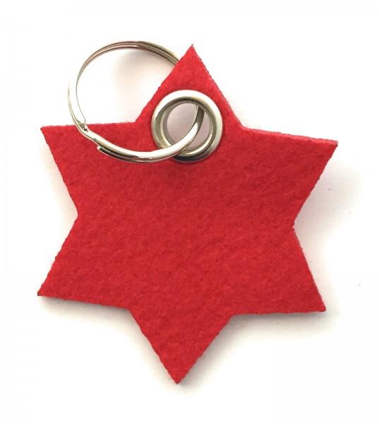Stern / 6eckig - Filz-Schlüsselanhänger - Farbe: rot - optional mit Gravur / Aufdruck