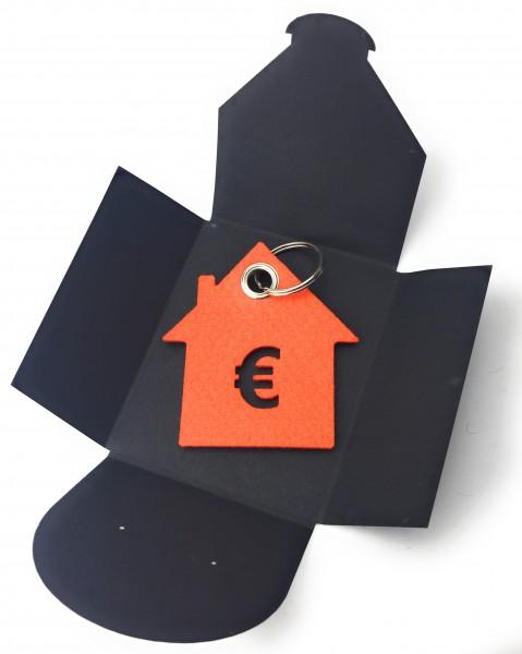 Schlüsselanhänger aus Filz optional mit Namensgravur - Haus / Bank / mit €-Zeichen - orange als Sch