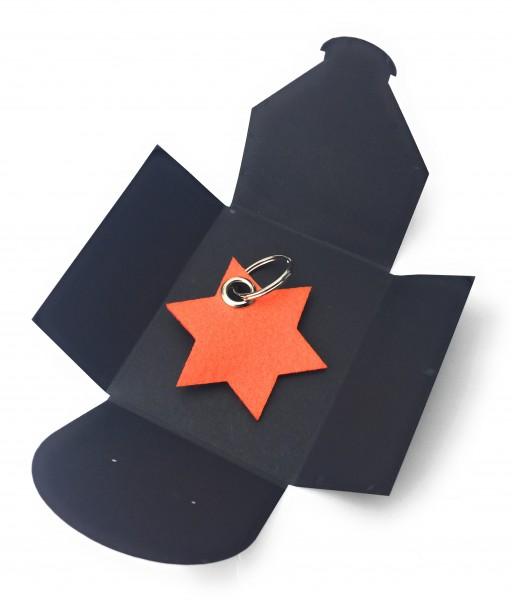 Schlüsselanhänger aus Filz optional mit Namensgravur - 6eck-Stern - orange als Schlüsselanhänger /