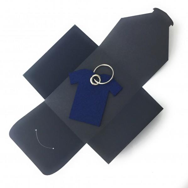 Schlüsselanhänger aus Filz optional mit Namensgravur - T-Shirt / Sport - marineblau als Schlüsselan