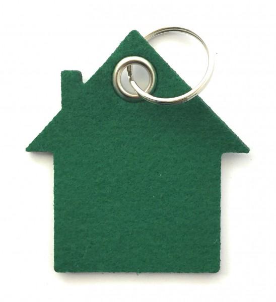 Haus - Filz-Schlüsselanhänger - Farbe: waldgrün - optional mit Gravur / Aufdruck