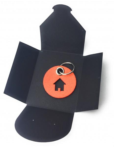 Schlüsselanhänger aus Filz - Kreis / Scheibe / mit Haus - orange als Schlüsselanhänger / Kofferanhän