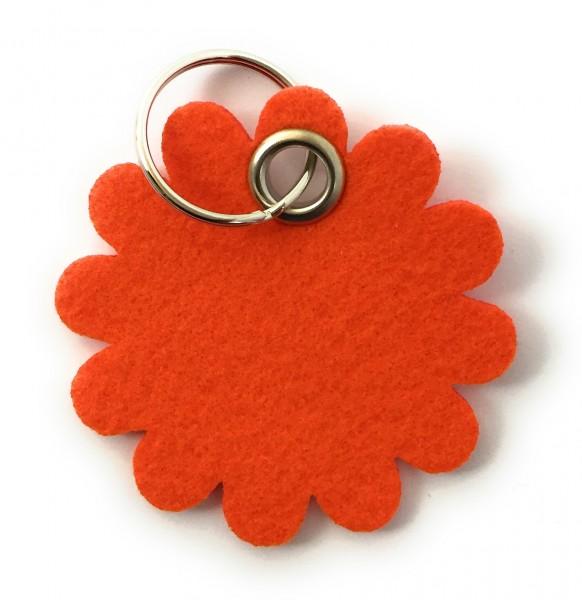 Blume - Rund - Filz-Schlüsselanhänger - Farbe: orange - optional mit Gravur / Aufdruck
