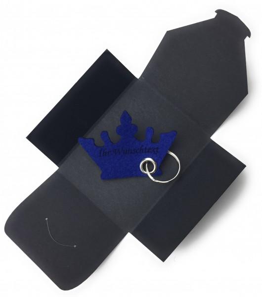 Schlüsselanhänger aus Filz optional mit Namensgravur - Krone / Prinzessin - königsblau als Schlüsse