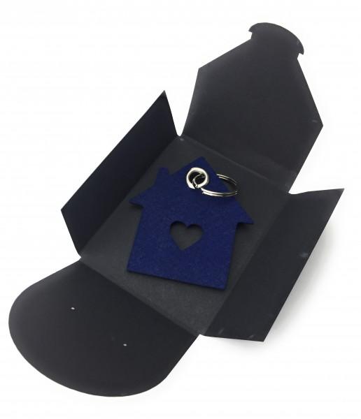 Schlüsselanhänger aus Filz - Haus mit Herz / Liebesnest - marineblau als Schlüsselanhänger / Koffer