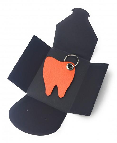 Schlüsselanhänger aus Filz optional mit Namensgravur - Backen-Zahn / Zahnarzt - orange als Schlüssel