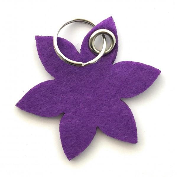 Blume - Spitz - Filz-Schlüsselanhänger - Farbe: lila / flieder - optional mit Gravur / Aufdruck