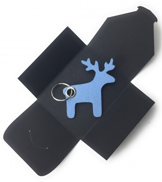 Schlüsselanhänger aus Filz optional mit Namensgravur - Elch / Weihnachten - eisblau als Schlüsselan