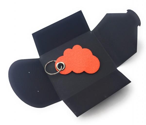 Schlüsselanhänger aus Filz optional mit Namensgravur - Wolke / Cloud - orange als Schlüsselanhänger