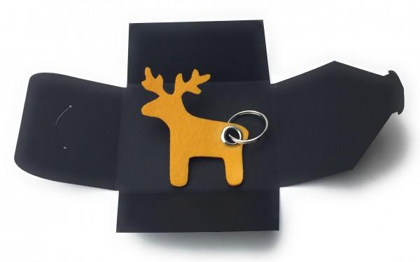 Schlüsselanhänger aus Filz optional mit Namensgravur - Elch / Weihnachten - safrangelb als Schlüsse