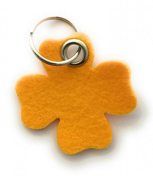 Glücksklee-Blatt - Filz-Schlüsselanhänger - Farbe: gelb - optional mit Gravur / Aufdruck
