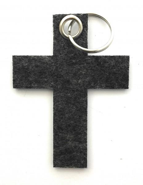 Kreuz groß - Filz-Schlüsselanhänger - Farbe: schwarz meliert - optional mit Gravur / Aufdruck