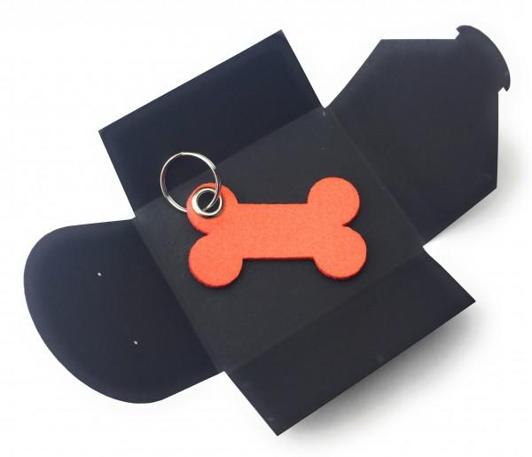 Schlüsselanhänger aus Filz optional mit Namensgravur - Knochen / Hund - orange als Schlüsselanhänger
