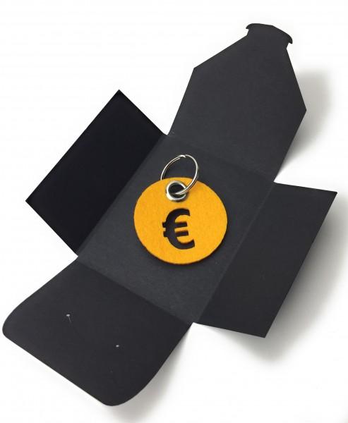 Schlüsselanhänger aus Filz - Kreis / Scheibe / mit €-Zeichen - safrangelb als Schlüsselanhänger / K