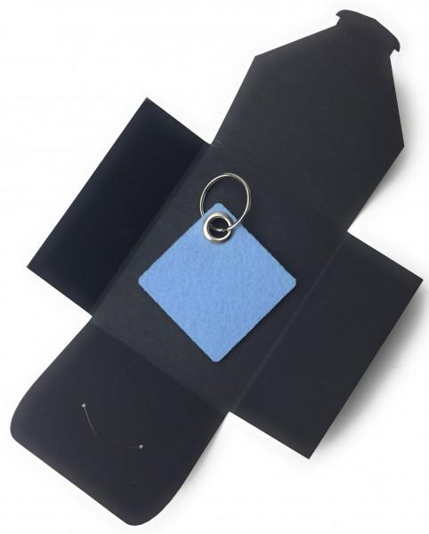 Schlüsselanhänger aus Filz optional mit Namensgravur - Viereck / Simple - eisblau als Schlüsselanhän