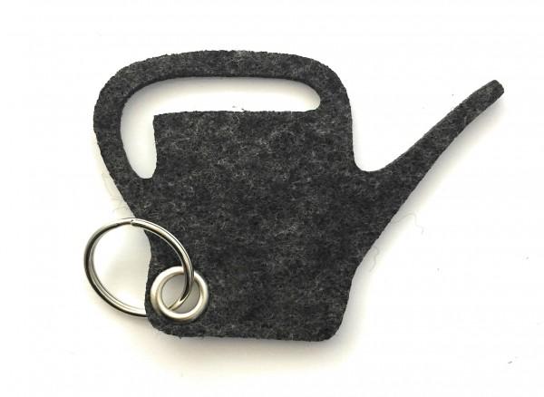 Giess-Kanne - Filz-Schlüsselanhänger - Farbe: schwarz meliert - optional mit Gravur / Aufdruck