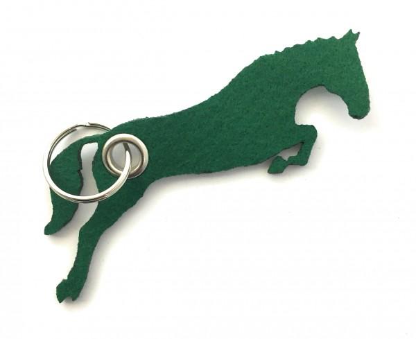 Spring - Pferd - Filz-Schlüsselanhänger - Farbe: waldgrün - optional mit Gravur / Aufdruck