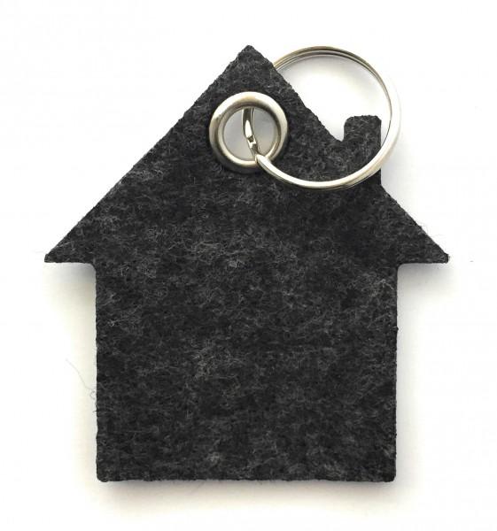 Haus - Filz-Schlüsselanhänger - Farbe: schwarz meliert - optional mit Gravur / Aufdruck