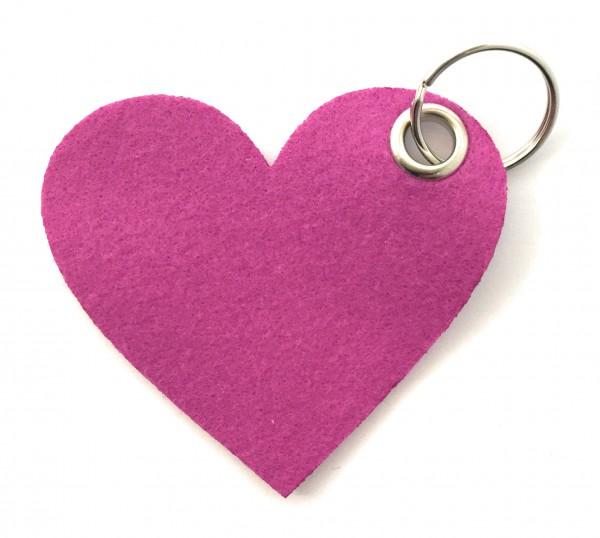 Herz / Liebe /groß - Filz-Schlüsselanhänger - Farbe: magenta - optional mit Gravur / Aufdruck