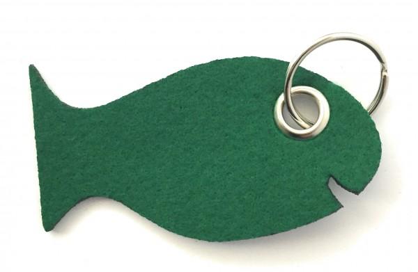 Fisch / Tier - Filz-Schlüsselanhänger - Farbe: waldgrün - optional mit Gravur / Aufdruck