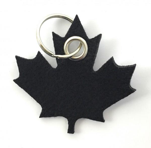 Ahorn-Blatt / Kanada - Filz-Schlüsselanhänger - Farbe: schwarz - optional mit Gravur / Aufdruck