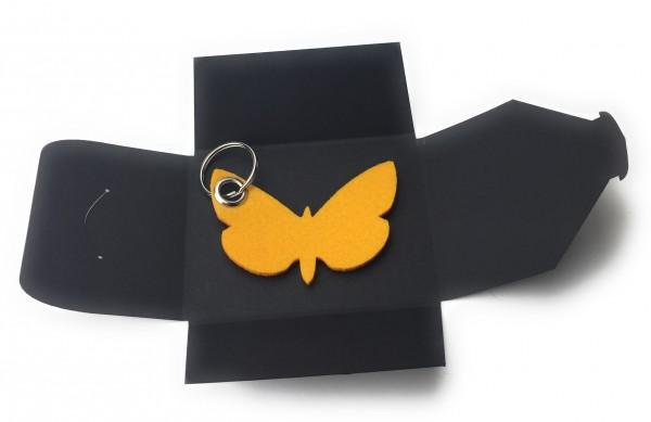 Schlüsselanhänger aus Filz optional mit Namensgravur - Schmetterling / Tier - safrangelb als Schlüs