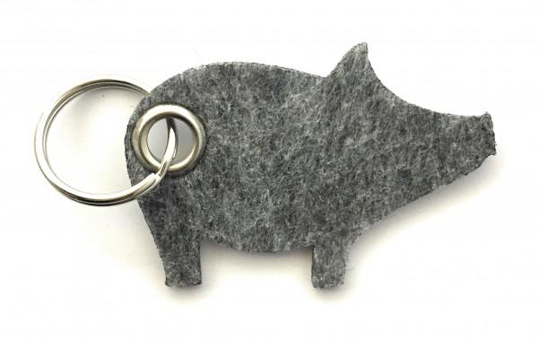 Glücks-Schwein - Filz-Schlüsselanhänger - Farbe: grau meliert - optional mit Gravur / Aufdruck