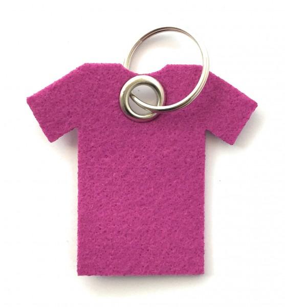 T-Shirt - Filz-Schlüsselanhänger - Farbe: magenta - optional mit Gravur / Aufdruck